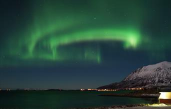 The Northern Lights on Elgsnes in Harstad, Northern Norway